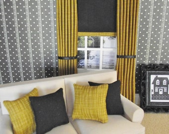 Miniature doll house 12th scale modern black and gold curtains with blind and 4 piece cushions set