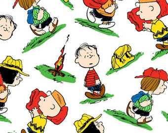 Half Yard Camp Peanuts - Character Toss in White - Charlie Brown Cotton Quilt Fabric - Quilting Treasures - 22530-Z (W3148)