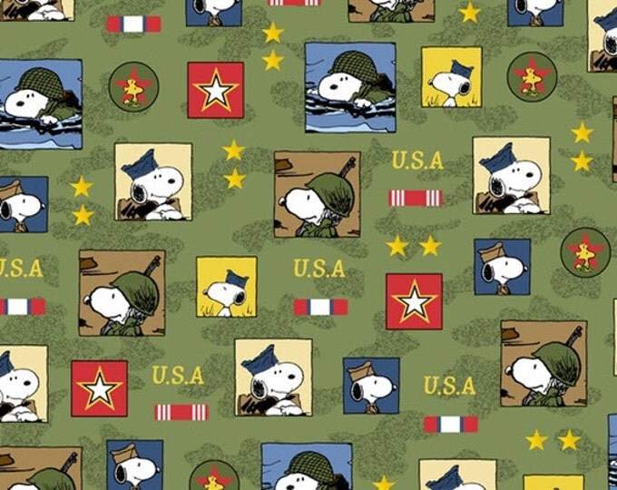 Half Yard Peanuts - Hugs for Heroes - Patch in Olive Green - Snoopy Cotton Quilt Fabric - Quilting Treasures - 22770-G (W3103)