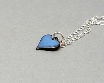 Enamel Heart Pendant Blue Enamel Heart Necklace
