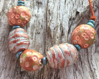 BOHO Rustic Polymer Clay Bead Necklace, Handmade Polymer Clay Beads, Tribal-Like Beads