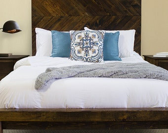 Tall headboard etsy - Extra tall queen bed frame ...
