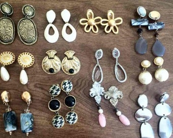 12 Pairs Clip On Earrings