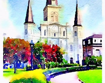 St. Louis Cathedral Watercolor Print