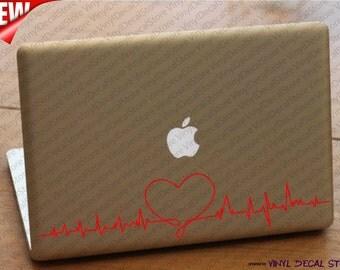MAC MACBOOK Laptop Vinyl Decal Sticker Heart Audiogram