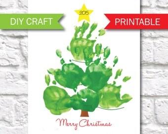Handprint Christmas Tree Printable Template - Christmas Kids Craft