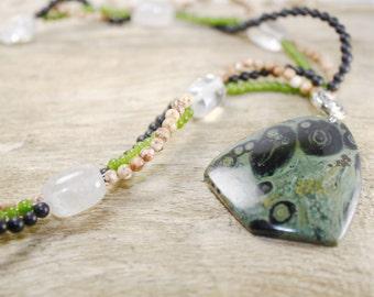 Kambaba Jasper Necklace, Kambaba Jasper beads necklace, Quartz beads, Green Black Necklace, Statement Beaded Jasper, Gemstone necklace