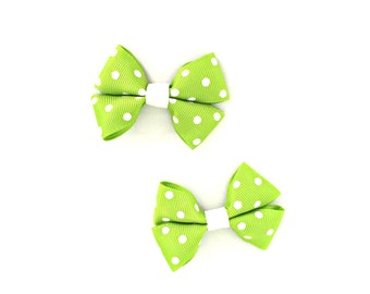 Apple Green Hair Bow, Apple Green Hairbows, Apple Green Bows, Green Hair Clips, Green Hairbows, Green Hair Bows, Polka Dot Hair Bows