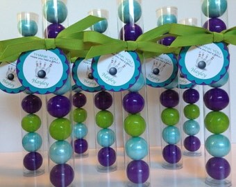 Bowling party, bowling birthday  Gumball tube party favors, with personalized tags, set of 12