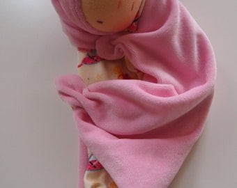 Waldorf doll for babys, sleeping,fluffy, cloth doll, teething doll, baby shower gift-READY TO SHIP