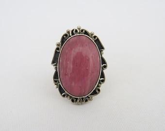 Vintage Sterling Silver Pink Cabochon Adjustable Ring Size 7.5