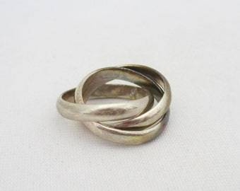Vintage Sterling Silver Three Band Ring Size 6.5