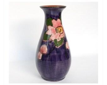 Watcombe Torquay Pottery Stylized Rose Vase