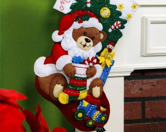 "Teddy Bear Santa  Bucilla 18"" Felt Christmas Stocking Kit #86503 DIY"
