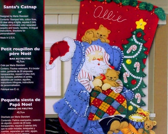 "Bucilla Santa's Catnap ~ 18"" Felt Christmas Stocking Kit #86053 Cats, Kittens DIY"