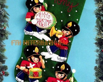"Bucilla Toy Soldiers ~ 18"" Felt Christmas Stocking Kit #83201, Drum Bugle Parade DIY"
