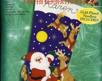 "Bucilla And to All a Goodnight ~ 18"" Felt Christmas Stocking Kit #84253 Santa DIY"