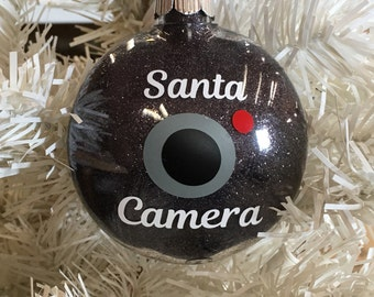Santa Camera Ornament, Santa Cam, Santa Camera, Glitter Ornament, disc shaped,Santa Ornament, Ornament for Kids, Santa Spy ornament ,gifts u