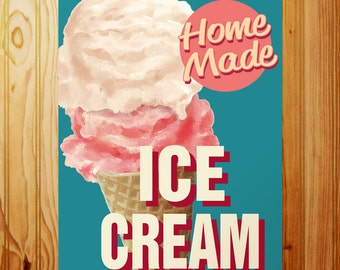 Ice Cream Home Made Cone Metal Kitchen Sign - #56842