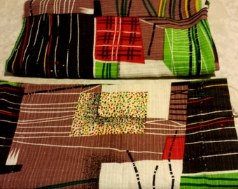 Vintage 50s Atomic Tiki Fabric Panels