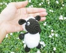 Shaun Sheep Cartoon Animal Amigurumi Crochet Doll Charms Keychain