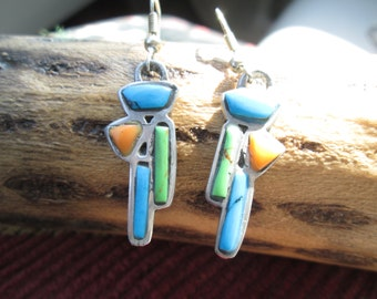 Sterling and Multi- Stone Southwest Art Deco Dangle Earrings