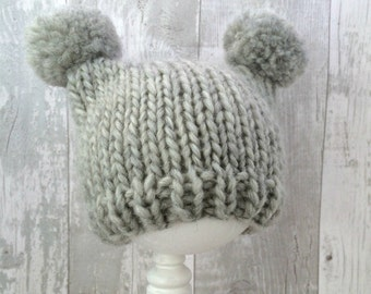 Gender Neutral Baby Hat, Light Grey Knitted Hat, Baby Winter Hat, Baby Knit Hat, Unisex Baby Clothes, Hand Knit Baby Clothes, Newborn Gift