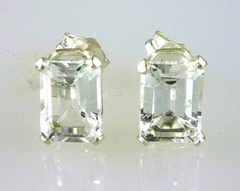 Natural White Topaz Emerald Cut Stud Earrings 925 Sterling Silver 2.42 Carats TW