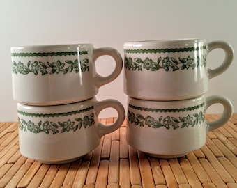 Buffalo China Diner Coffee Mugs White with Green Kenmore Flower Pattern. Set of 4 Mid Century Restaurant Ware Coffee Cups. Vintage Kitchen.