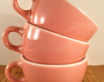 Shenango China Coffee Cups. 1950's, Mid Century Modern Pink & White Diner Style, Restaurant Ware Mugs. Set of 3. Made in USA.