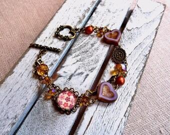 Purple and golden accessary Amazonite Czech glass cabochon bracelet Sparkling double strand