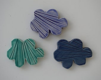 Handmade Ceramic Cloud Magnet- set of 3