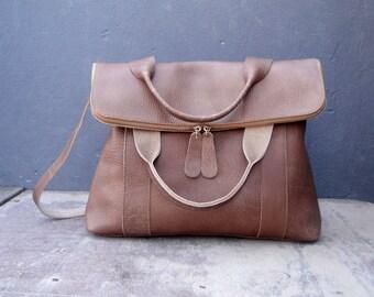 Leather satchel in beige