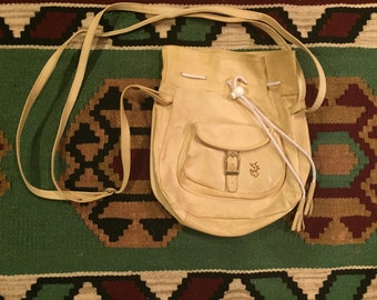 1970's tan leather drawstring bag