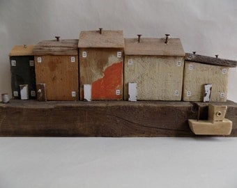 Driftwood Harbour Scene - handmade using recycled materials