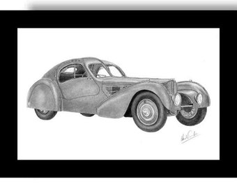 Car art pencil drawing of a 1936 Bugatti