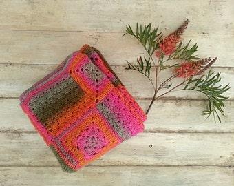Crochet Baby Blanket, Granny Square Baby Blanket, Modern Crochet Blanket, Crochet Baby Afghan, Pure Wool Baby Blanket, Green Pink Orange
