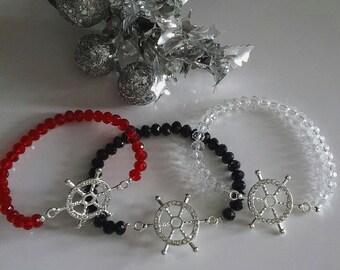 Stretchy Bracelets With Crystal Glass Beads, Rudder, Handmade bracelet, Fashion Bracelet, Jewelry, Bracelets, Birthday Gift, Bracelet