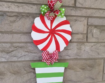Candy cane topiary door hanger