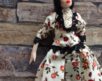 Deborah doll 1/12 posable for a classic dollhouse in floral dress