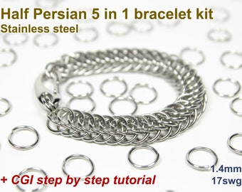 Half Persian 5 in 1 Bracelet Kit, Chainmaille Kit, Stainless Steel, Chainmail Kit, Jump Rings, Chainmail Bracelet Kit, Chainmaille Tutorial