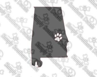"Auburn, Alabama Silhouette Decal 4x3"""