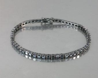 14 Karat White Gold Black Diamond Tennis Bracelet (4.74ct)