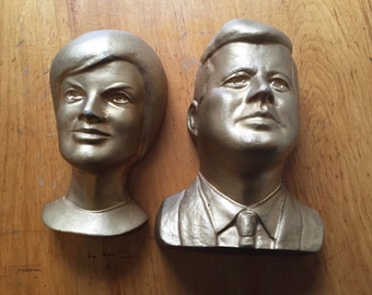 Heavy cast busts of John F Kennedy and Jacqueline Kennedy