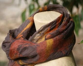 Felted Scarf, Silk scarf, nuno felt scarf, wool scarf, Australian wool, landscape colours, amber, bronze, australian outback colours