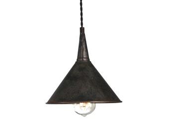 Medium Steel Funnel Pendant Light in Black Steel or Galvanized
