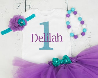 PERSONALIZED PURPLE and TEAL First Birthday Outfit, Purple Girls Outfit, 1st Birthday Outfit, Girls Birthday Tutu Dress Outfit, Teal Outfit
