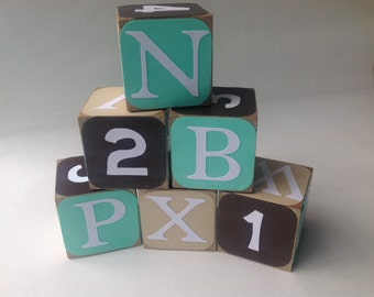 Aqua and Gold Wood Alphabet Baby Building Blocks - Wood Alphabet Blocks - Wood Baby Blocks - Wood and Numbers Block Set