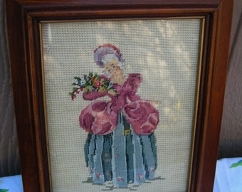 Vintage Victorian Lady Petite Point Needlepoint Picture in Wood Wooden Frame with Glass Cottage Chic Romantic Decor