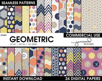 Geometric Digital Paper || Digital Scrapbook Paper || Seamless Pattern || Blue, Yellow, Orange, Pink, Brown || Commercial Use || DP16001
